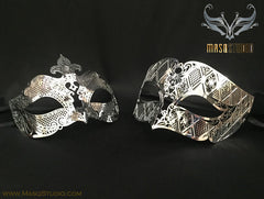 Luxury metal Couple silver petite Masquerade Mask Set