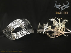 Luxury metal silver butterfly Couple Masquerade Mask Set