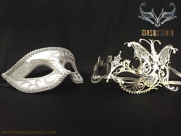 Laser cut Butterfly Silver Couple Masquerade Mask Set