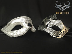 Couple Masquerade Mask Set Laser cut Silver Petite