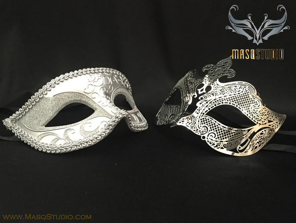 Laser cut Petite Silver Couple Masquerade Mask Set