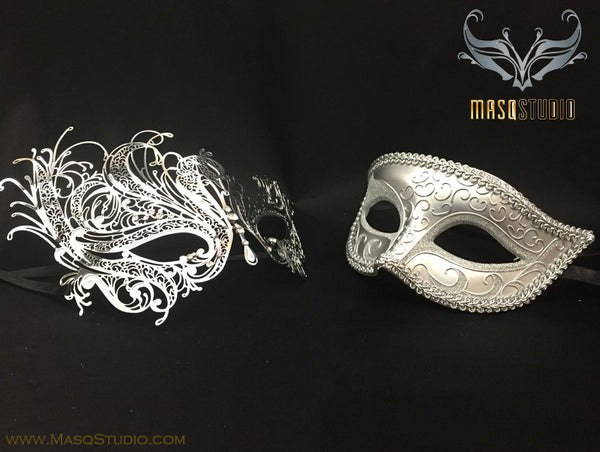 Laser cut Silver Swan Couple Masquerade Mask Set