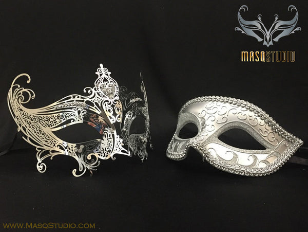 Couple Masquerade Mask Set Laser cut Gossip girl Silver SERENA