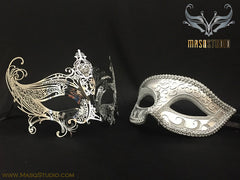 Laser cut Couple Gold Masquerade Mask Set Gossip girl Serena Mask