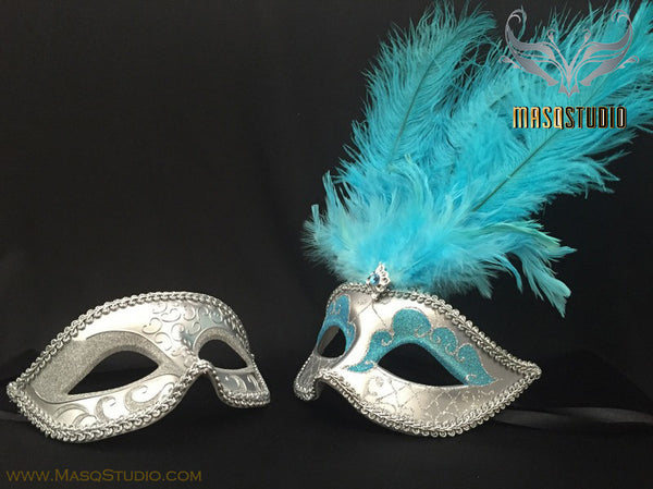 Fifty shades of Grey Couple Feather Masquerade mask Pair Turquoise Silver