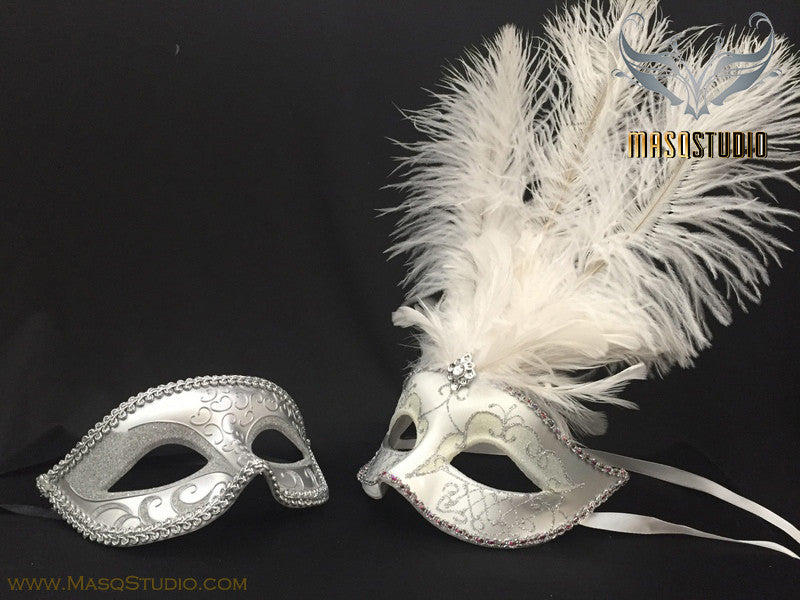 Silver accent White silver Feather Masquerade Mask for couple