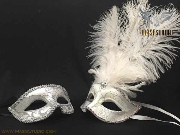 Fifty shades of Grey Couple Masquerade Feather mask Pair White Silver