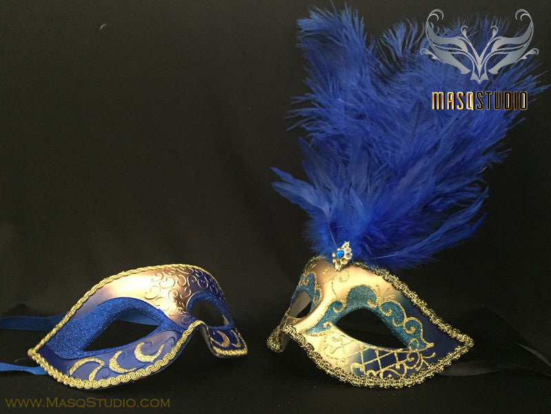 Gold accent Royal Blue Gold Feather Masquerade Mask for couple
