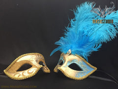 Gold accent Turquoise Feather Masquerade Mask for couple
