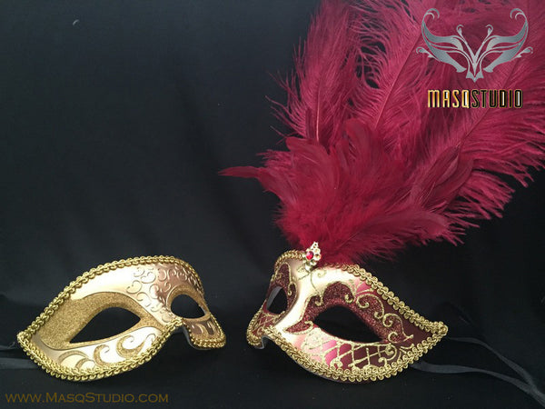 Fifty shades of Grey Couple Feather Masquerade mask Pair Burgundy Red Gold