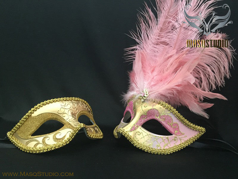 Gold accent Pink Gold Feather Masquerade Mask for couple
