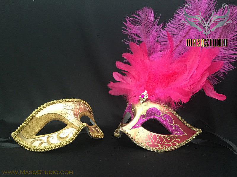 Gold accent Hot Pink Fuchsia Gold Feather Masquerade Mask for couple