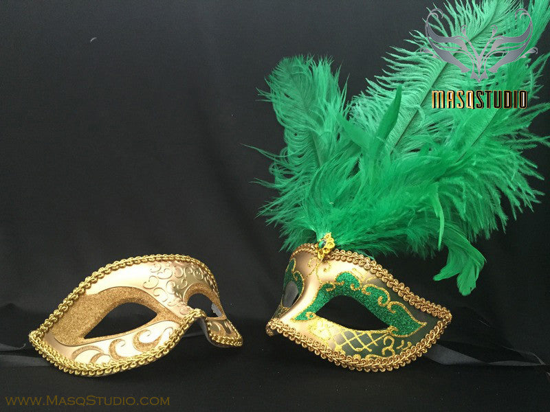 Gold accent Green Gold Feather Masquerade Mask for couple