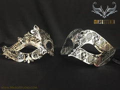 Luxury Venetian Couple Stacy Silver Masquerade Mask Set