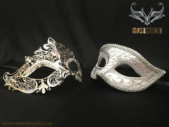 Couple Masquerade Mask Set Laser cut Mysterious Silver STACY