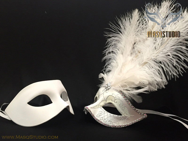White Feather Masquerade Mask for couple
