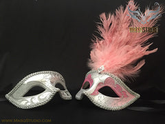Silver accent Pink Silver Feather Masquerade Mask for couple