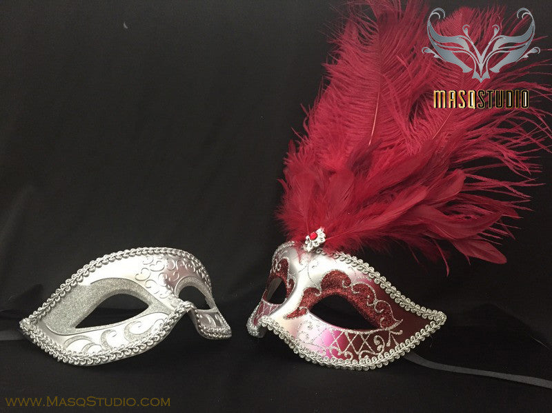 Gold accent Burgundy red Silver Feather Masquerade Mask for couple