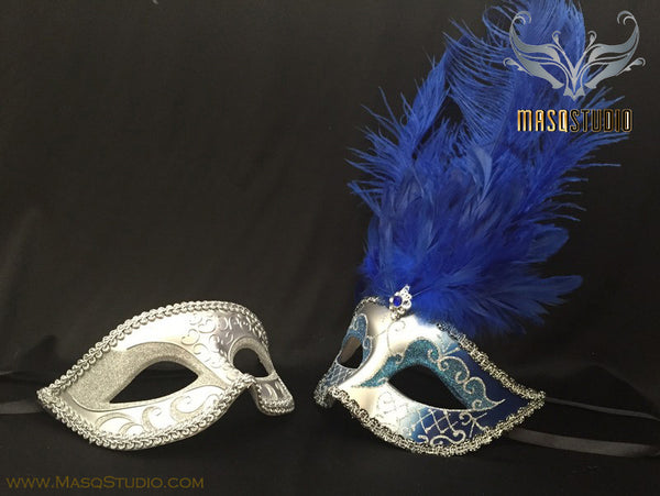 Fifty shades of Grey Couple Feather Masquerade mask Pair Royal Blue Silver