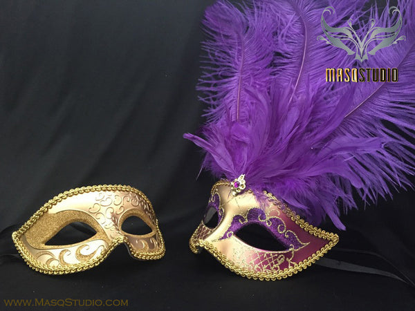 Fifty shades of Grey Couple Feather Masquerade mask Pair Purple Gold