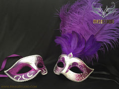 Silver accent purple silver Feather Masquerade Mask for couple