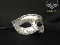 Men's Silver Masquerade eye mask