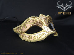 Venetian style Children Masquerade Eye Mask Gold