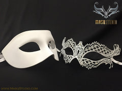 laser cut metal Vampire Diaries Couple Masquerade mask set