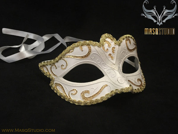 Venetian style Children Masquerade Eye Mask White Gold