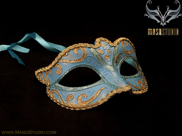 Venetian style Children Masquerade Eye Mask Turquoise Gold