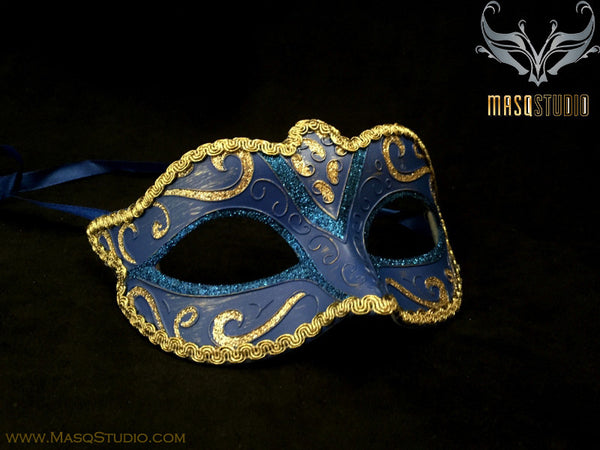 Venetian style Children Masquerade Eye Mask Royal Blue Gold