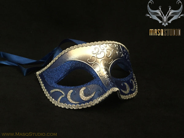 Men's Royal Blue Silver Masquerade ball eye mask