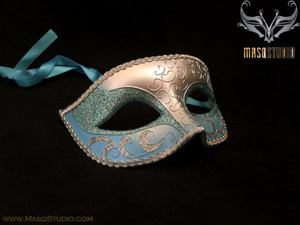 Men's Turquoise Silver Masquerade ball eye mask