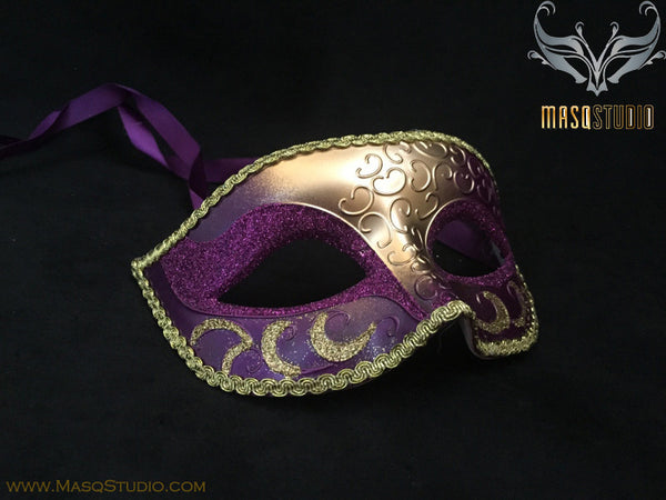 Men's Purple Gold Masquerade ball eye mask