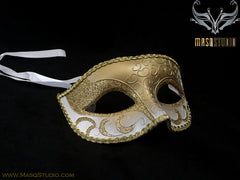 Men's White Gold Masquerade ball eye mask
