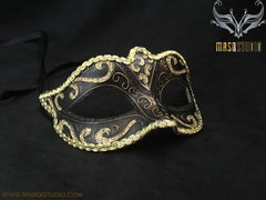 Venetian style Children Masquerade Eye Mask Black Gold