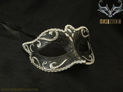 Venetian style Children Masquerade Eye Mask Black Silver