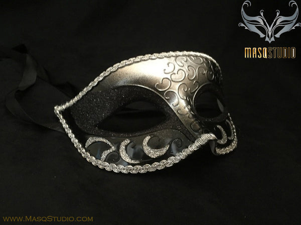 Men's Black Silver Masquerade ball eye mask