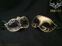 Classic Venetian Couple Black Gold Masquerade Mask Set