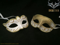Classic Venetian Couple White Gold Masquerade Mask Set