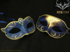 Classic Venetian Couple Royal Blue Gold Masquerade Mask Set