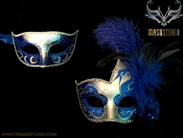 Couple Masquerade mask set Venetian Feathered Royal Blue Silver Masquerade Mask Pair
