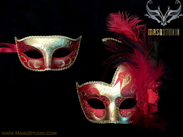 Couple Masquerade mask set Venetian Feathered Red Gold Masquerade Mask Pair