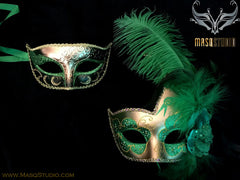 Couple Masquerade mask set Venetian Feathered Green Gold Masquerade Mask Pair