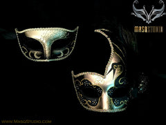 Couple Masquerade mask set Venetian Feathered Black Gold Masquerade Mask Pair