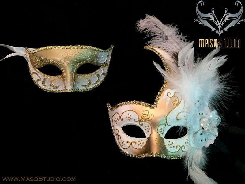 Couple Masquerade mask set Venetian Feathered White Gold Masquerade Mask Pair