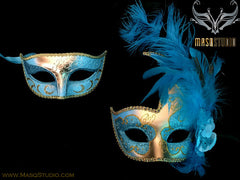 Couple Masquerade mask set Venetian Feathered Turquoise Gold Masquerade Mask Pair