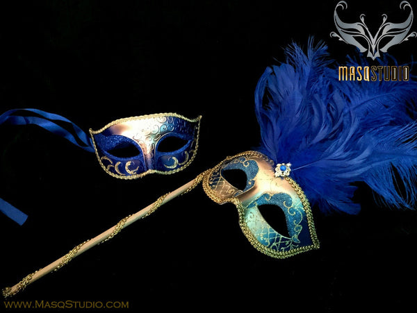 Venetian Couple Ostrich Feather Masquerade Stick Mask Set Royal Blue Gold