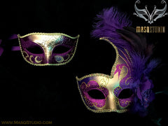 Couple Masquerade mask set Venetian Feathered Purple Gold Masquerade Mask Pair