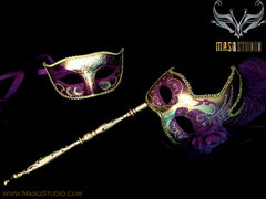 Venetian Couple Feather Masquerade Stick Mask Set Purple Gold